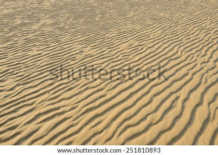 Dry rippled golden sand, ideal for backgrounds and textures - stock photo