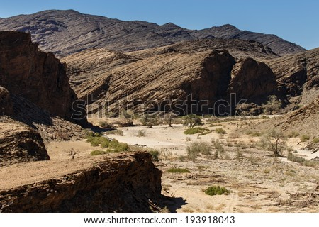 Dry River Bed at Kuiseb Canyon in the Namib Desert, Namibia, Africa - stock photo