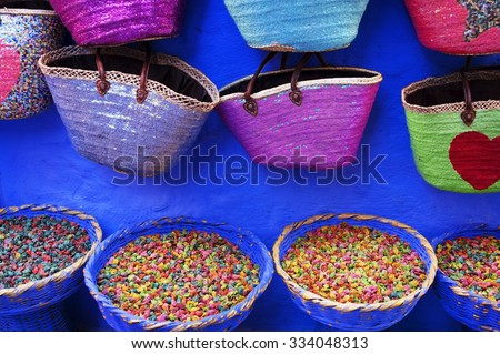 Dry rose buds on the market in Chefchaouen, Morocco, Africa - stock photo
