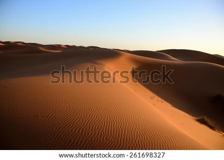 dry Sahara desert near Merzouga in Morocco - stock photo