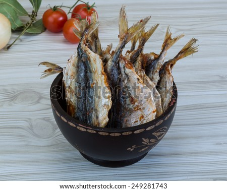 Dry salted fish - soft traditional snack for beer - stock photo