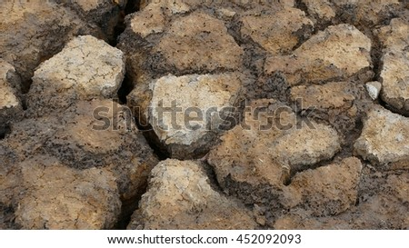 Dry soil texture on the ground. No water for a long time and drought causing dry soil. - stock photo
