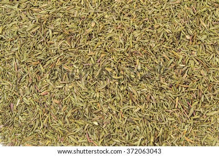 Dry thyme spice for food close up background. - stock photo