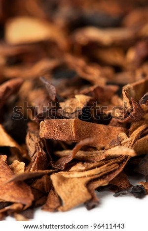 Dry tobacco leaves close up - stock photo