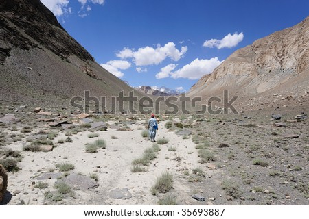 Dry U-shaped valley in Karakoram - stock photo