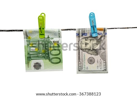 Dry up of one hundred Euro and dollar bill isolated on white background - stock photo