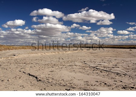 Dry Wash near the entrance of Chaco Culture National Historical Park, New Mexico - stock photo