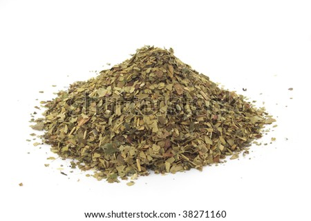 Dry yerba mate leaves, traditional drink of Argentina. - stock photo