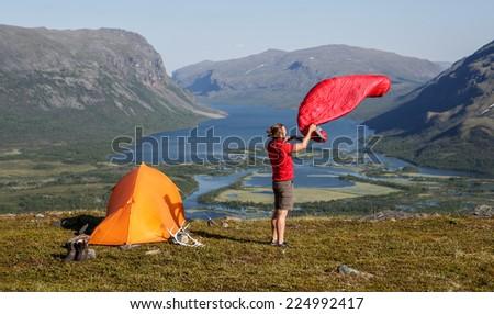 drying the sleeping bag  - stock photo