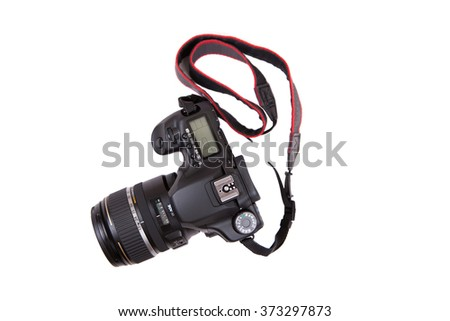 DSLR camera isolated on white background - stock photo