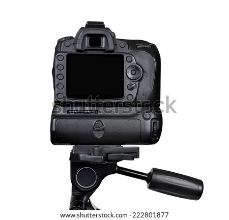 Dslr camera on a tripod isolated on white background - stock photo