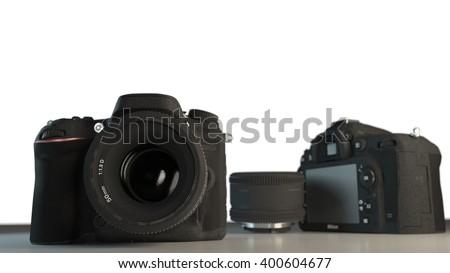 DSLR cameras with lens 3d illustration - stock photo