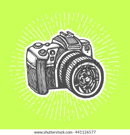DSLR digital camera. Vintage style, hand drawn pen and ink.  clip art for flyer, business card of electronics shop or professional camera store. Retro design element - stock photo