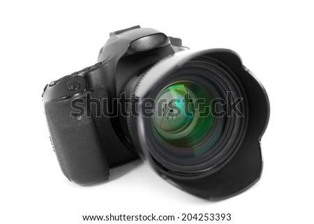 dslr photocamera isolated on white - stock photo