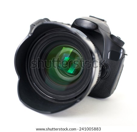 dslr photocamera isolated on white - stock photo
