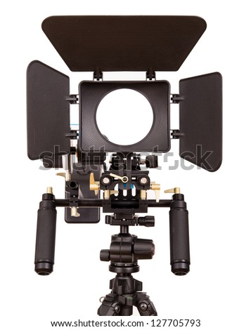 DSLR rig isolated on white - stock photo