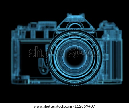 DSLR SLR camera (3D xray blue transparent) - stock photo