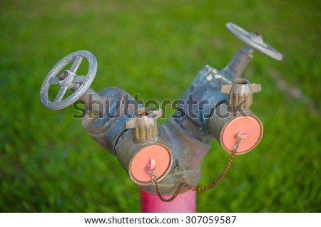 Dual head pipe modern hydrant in front of green grass - stock photo