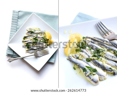 Dual Image of fresh Boquerones against a light background with garlic, parsley and extra virgin olive oil. Styled in white, generous copy space. The perfect image for your seafood menu cover design. - stock photo