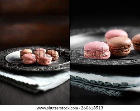 Dual image of Neapolitan macaroons against a rustic setting shot in natural diffused light. Perfect image for your dessert menu cover design. Copy space. - stock photo