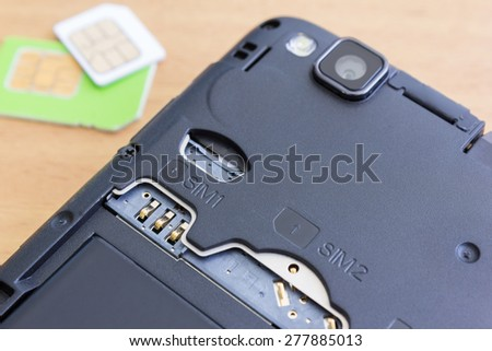 dual slot and dual SIM cards - stock photo