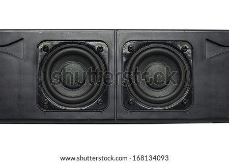 Dual speakers with aircraft black box for the amplifier - stock photo