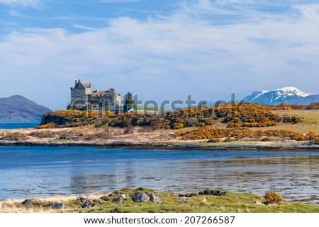 Duart Castle, stunning scenery on the Isle of Mull - stock photo