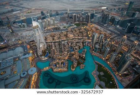 Dubai aerial view by night - stock photo