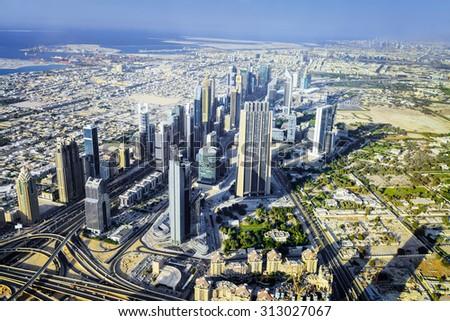 Dubai City ViewDowntown district, UAE - stock photo