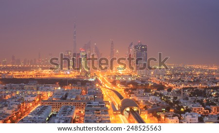 Dubai in the morning fog - stock photo