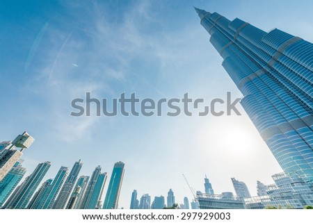 Dubai - JANUARY 10, 2015: Burj Khalifa on January 10 in UAE, Dubai. Burj Khalifa is the tallest building in the world - stock photo