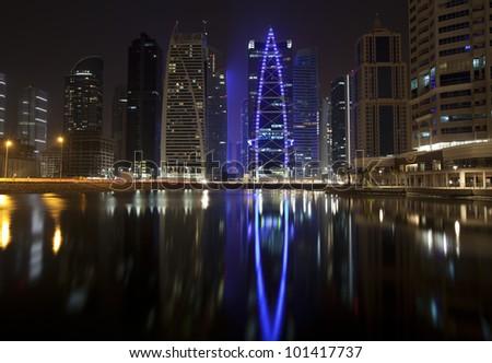 Dubai, JLT district. Night view - stock photo