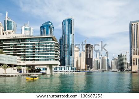 Dubai Marina an artificial canal city - stock photo