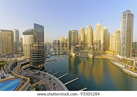 "Dubai Marina - Dubai Marina is a district in the heart of what has become known as ""new Dubai"" in Dubai, United Arab Emirates. - stock photo"