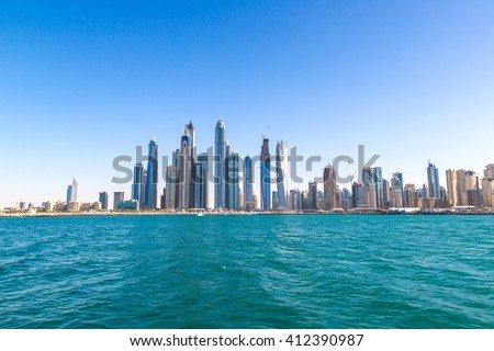 Dubai Marina in a summer day, United Arab Emirates - stock photo