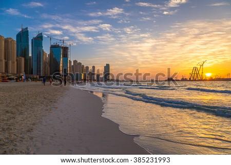 Dubai marina in the summer evening, sunset, UAE - stock photo