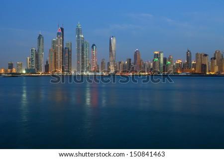 Dubai marina skyline at night,  United Arab Emirates - stock photo