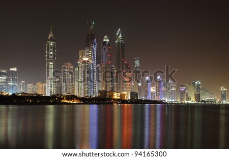 Dubai Marina skyline at night. United Arab Emirates - stock photo
