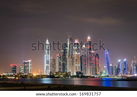 Dubai Marina skyline by night - stock photo