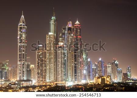 Dubai Marina skyscrapers at night. Dubai, United Arab Emirates - stock photo