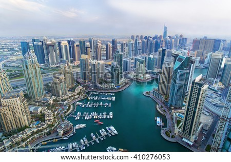 Dubai Marina skyscrapers, port with luxury yachts and marina promenade,Dubai,United Arab Emirates - stock photo