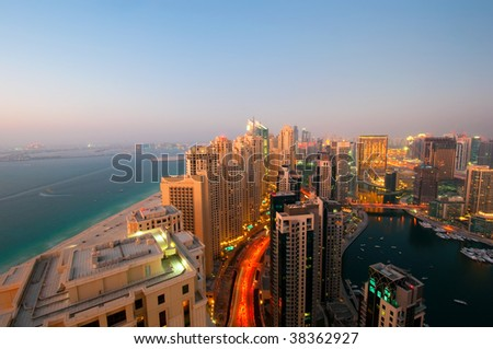 Dubai Marina View at Sunset - stock photo