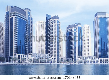 Dubai marina, waterfront - stock photo