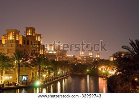 Dubai Night Scene 4 - stock photo