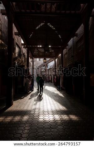 Dubai old Textile Souq (Market). - stock photo