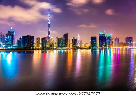 Dubai skyline at dusk, UAE. - stock photo