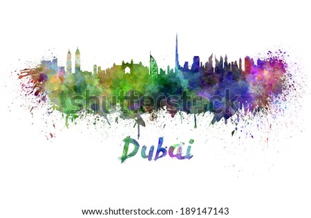 Dubai skyline in watercolor splatters with clipping path - stock photo