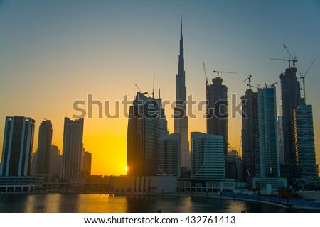 Dubai skyline view at business bay   - stock photo