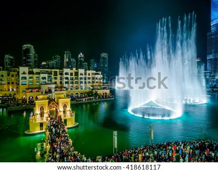 DUBAI, UAE - APR 14, 2013: Famous dubai fountain view near Burj Khalifa, Dubai, United Arab Emirates - stock photo