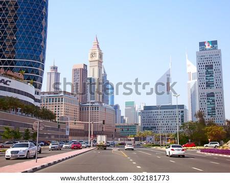 DUBAI, UAE - APRIL 27: Downtown Burj Dubai April 27, 2014 in Dubai, United Arab Emirates. Dubai is biggest city of UAE and one of the most important financial centers of the Middle East economy - stock photo